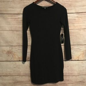 NWT Lulu's Size XS Black Long Sleeve Knit Dress
